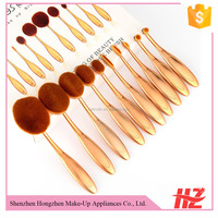 Professional Unicorn Rose Gold Oval Makeup Brushes With Plastic Cover