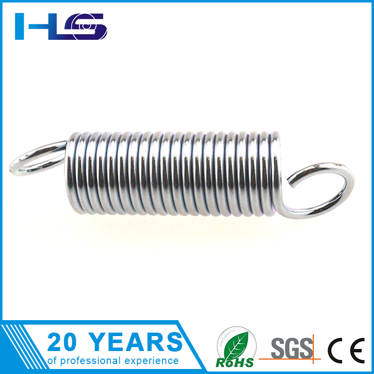 Large wire diameter double hook high extension spring with blue Zinc-coating