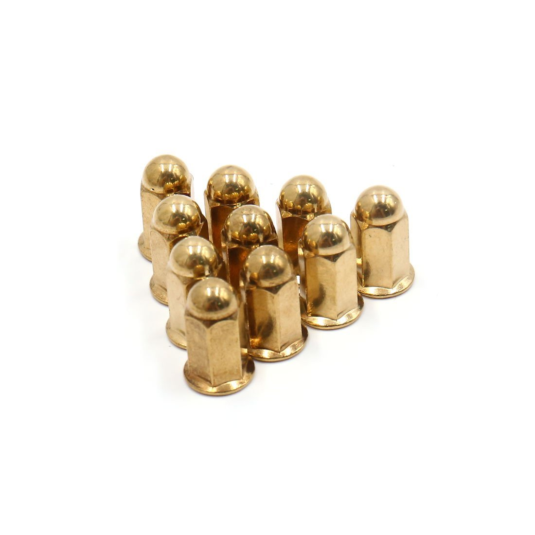 uxcell 10Pcs M6 Gold Tone Metal Exhaust Pipe Screw Bolt Nut Cap Cover for Motorcycle