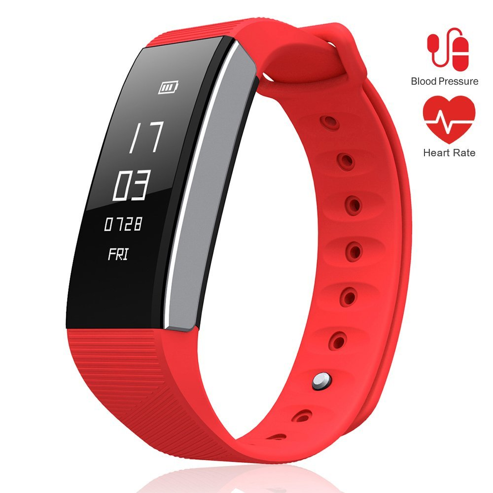 LePan Smart Band C9, Fitness, Tracker Heart Rate Monitor, Wrist Watch, Blood Pressure, Health Activity, Trackers, Rechargeable Battery, Remote Control Smart Phone Camera, Kids Men Women, Red