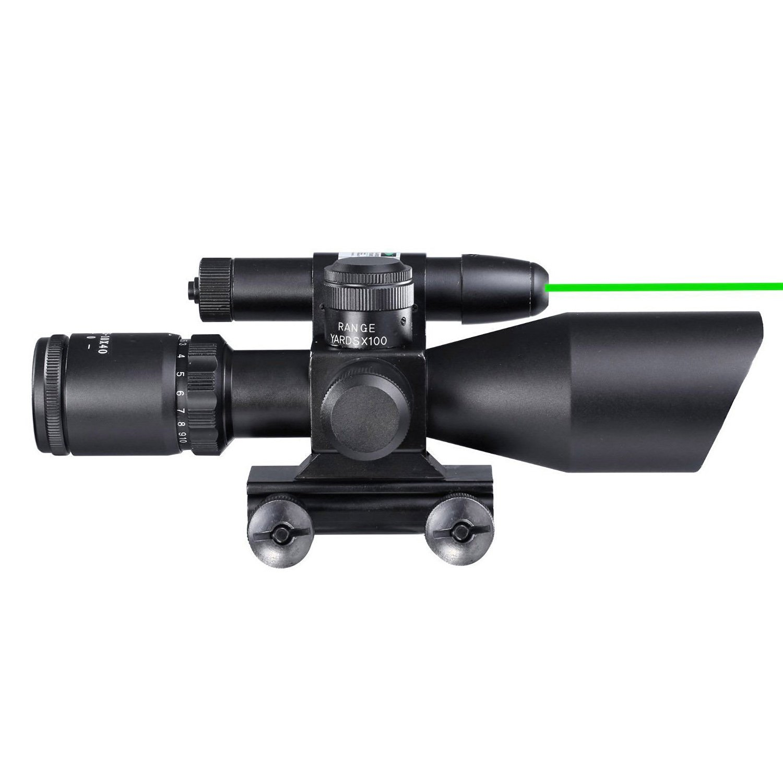 Freehawk® 2.5-10x40 Tactical Rifle Scope/Gun scope/Gun sights Green Laser Dual illuminated Mil-dot w/ Rail Mount-Shockproof, Waterproof, Fogproof