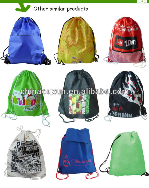 Trendy travel nylon drawstring backpack