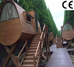CE low cost China mini holiday timber logs hotel use garden house cheap villa wood cabin hut tiny caravan house for sale