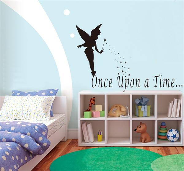 Flying fairy tale once upon a time quote wall stickers home decor cute home decoration for kids room vinyl wall stickers 8270