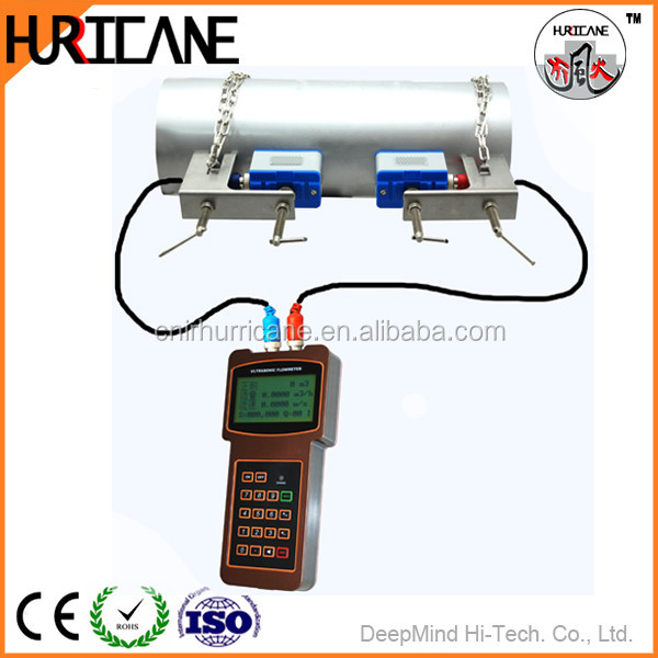 Handheld ultrasonic 7m/s fuel oil flow meter measuring flow rate for pvc