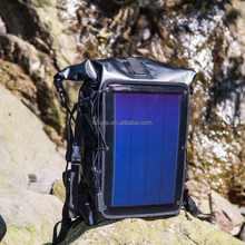 Outdoor square waterproof laptop travel hiking backpack bags with solar panel