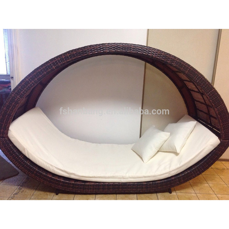 PE Wicker Tag Bed Sun Lounge Braun Baldachin Outdoor Sofa Rattan Möbel