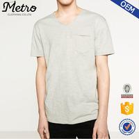 Casual Lightweight Mens Plain Raw Cuff T- Shirts Custom