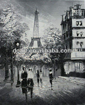 Paris Eiffel Tower Black And White Oil Painting