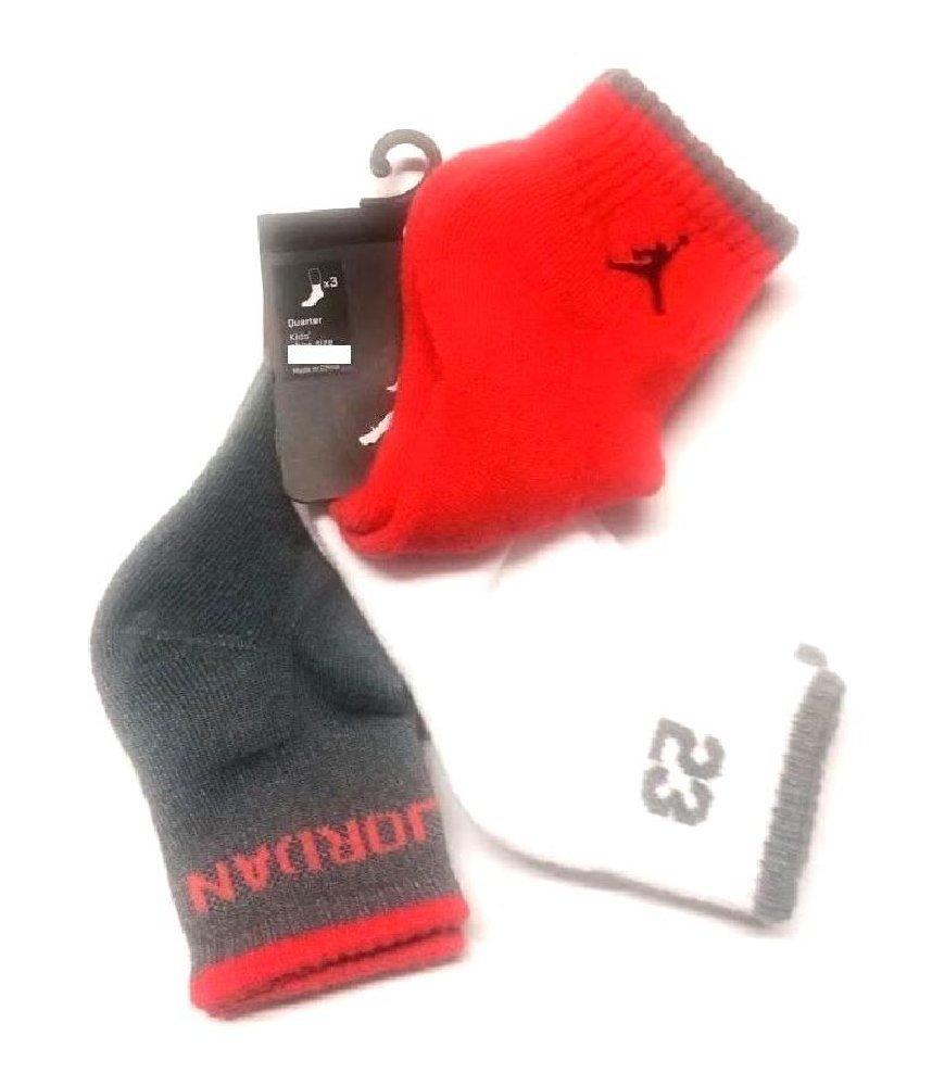 Nike Air Jordan Boys 3Pr Quarter Socks Sz 7-9- /3Y-5Y