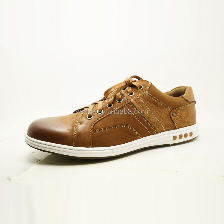 brown color loghtweight and elastic sole men leather trail running shoes