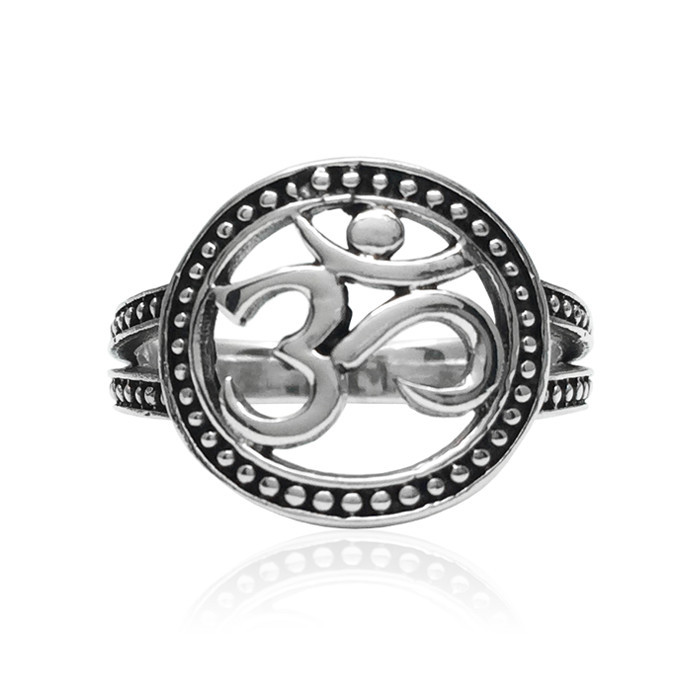 Hot Sales Classical Designs Stainless Steel Yoga Symbols Om Ring For