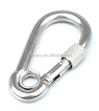 BDN-2450S Galvanized metal safety clip quick link lock carabiner, stainless steel spring snap hook with eyelet and screw nut