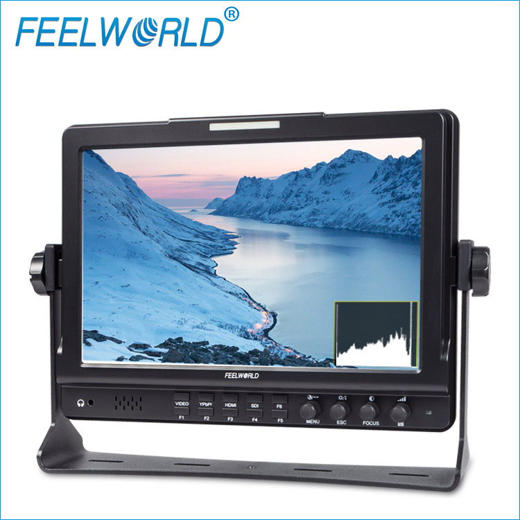"FEELWORLD 10.1"" IPS lcd panel 1280x800 1080p hd sdi monitor cheap with Peaking Histogram False Color Zebra Exposure"
