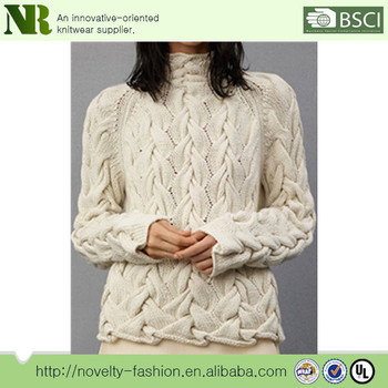 Ladies Fashion Full Cable Knitted White Pullover Sweater Buy Cable