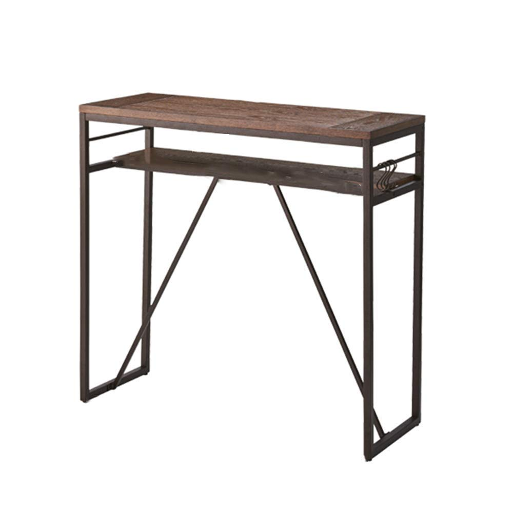Xiaolin Table Iron Art Small Bar Table Computer Desk Retro Living Room Partition Tables Solid Wood High Foot Table