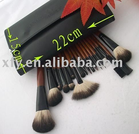 Mysterious Black18pcs XYZ Cosmetic Brush Set with Fan Brush
