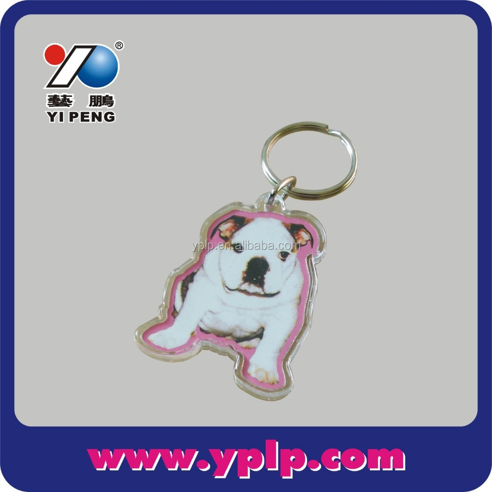 Dog Shaped Clear Plastic Acrylic Keychain Photo Holder
