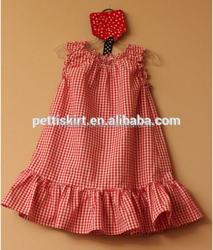 Children Casual Cute Clothes Baby Girls Red Gingham Ruffle Bottom