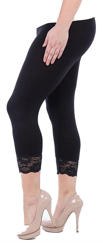 93355ed652551 Get Quotations · Click Selfie New Ladies Plus Size Plain Lace Trim Soft  Stretchy Cropped Capri 3/4