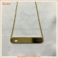 Double-faced polished engravable rectangle shaped fine personalized bar gold necklace 316l stainless steel jewellery wholesale
