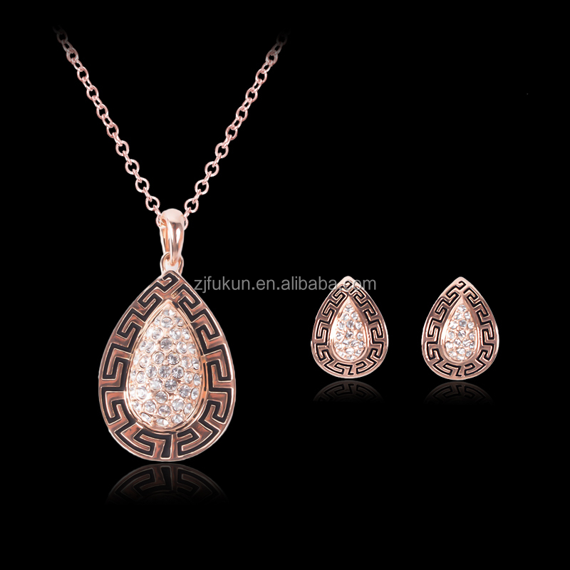 The new wholesale set auger drops necklace earrings set rose gold hot sale jewelry sets