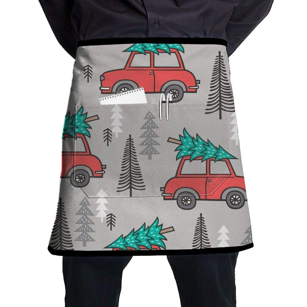 ERTOUGN22 Holiday Christmas Tree Red Car Universal Unisex Women Men Kitchen Cooking Waist Apron Short Apron Waiter Apron with One Pockets