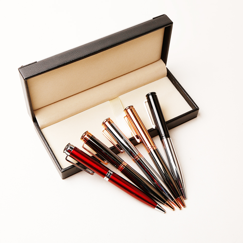 Zware Twist Open Corporate Rose Gouden Pen Gift Set voor Office Gift