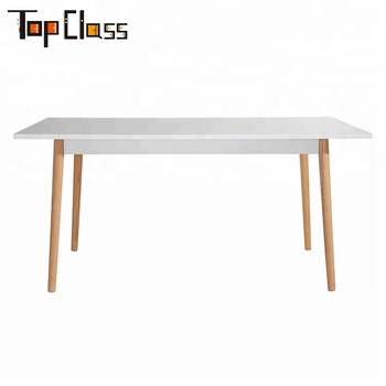 China Manufacturer Wholesale Custom Made Wooden Dining Table with Beech Wood Legs