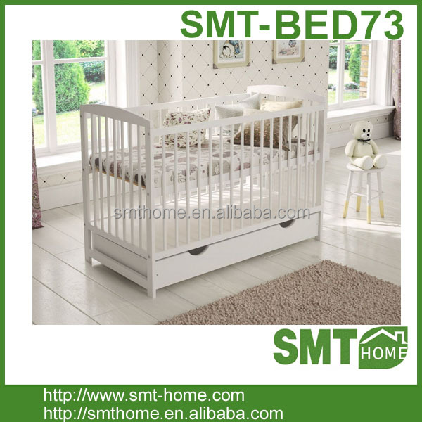 Europe White bedside / next to me baby crib cot in natural pine wood