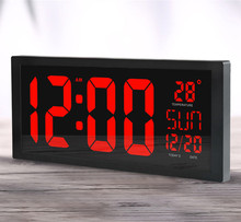 High-Quality 4 Red Digits LED Large Screen Digital Clock with Wall Hanging or Free Standing and Date Week Temperature Display