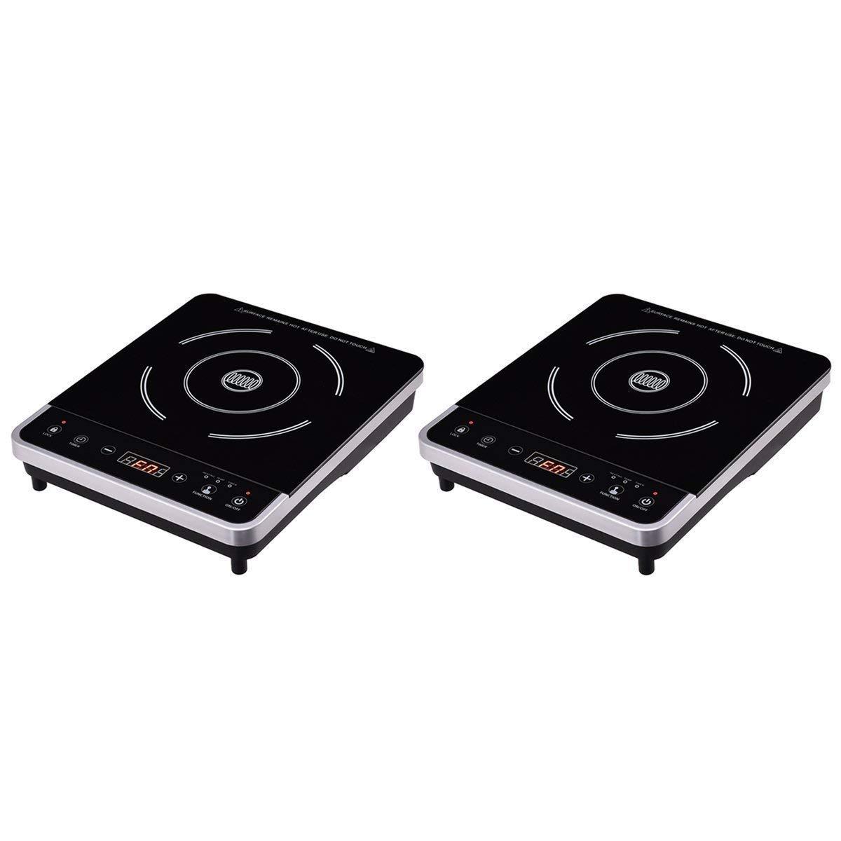 Costway 1800W Digital Induction Cooktop Countertop Burner,Electric Single Burner Hot Plate Cooktop Countertop with Timer,Temperature,Black (2)