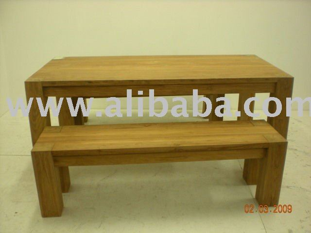 Bench Type Dining Table Set Made of Hardwood
