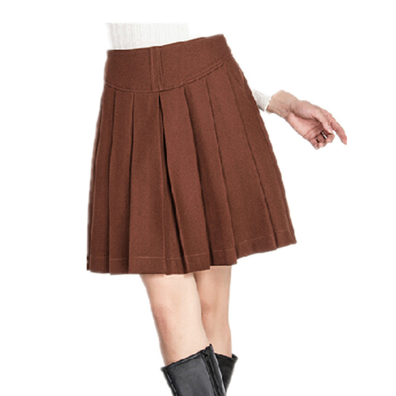S-5XL Autumn Winter Women high waist pleated woolen Skirts,Large size Casual Female Solid half-length Wool skirt gray/khaki/wine