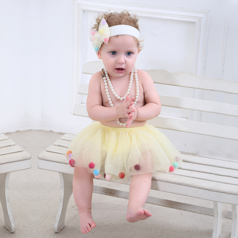 Ins Hot Sale Newborn Tutu Tulle colorful pom little girls skirts