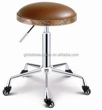 Round Salon Chair Hairdressing Cutting Stools Chairs With Chrome Base