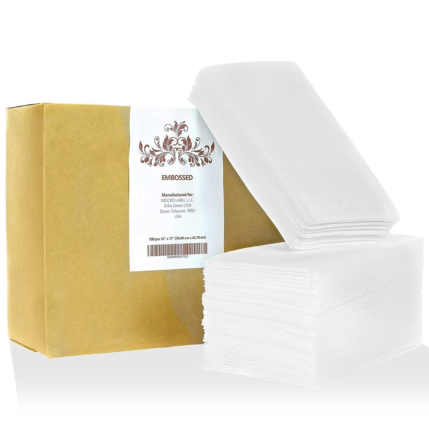 MOCKO Disposable Hand Napkins: 100 Absorbent Air-Laid Paper Bathroom Guest Towels, Floral Embossed Cloth-Like Soft Hand Towels, Elegant White For Birthday & Cocktail Parties, Dinners, Events, Weddings