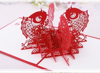 Hollow red big fish shape 3d pop up wishing greeting card paper hollow red big fish shape 3d pop up wishing greeting card paper crafts sculpture for thanks m4hsunfo