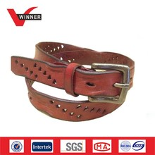 Western Red handmade leather belt