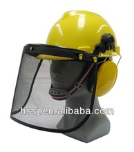 CE standard safety helmet with wire mesh face shield and earmuffs