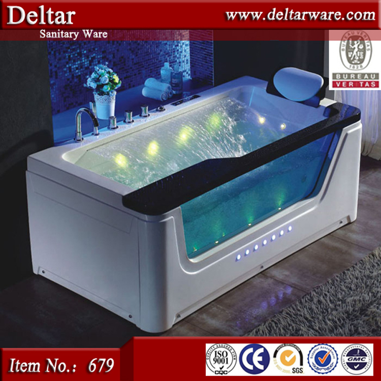 Water fall design LED light Strong Freestanding whirlpool bubble massage bathtub bathroom one person acrylic bathtub