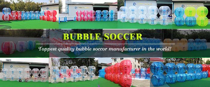 Venda quente vermelho e azul 1.5 m PVC bola inflável terno/bolha de futebol/bumper humano bola bolha