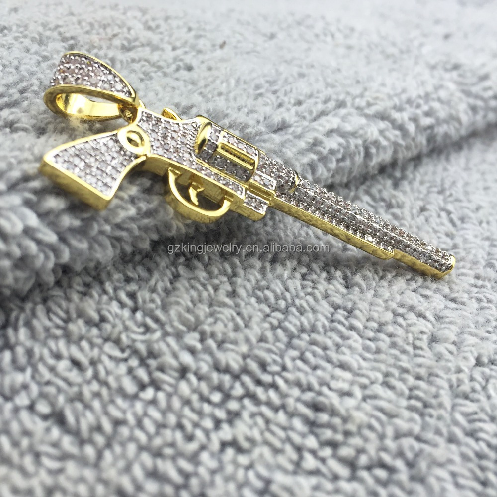 Fashion 925 silver Lad made diamond ice out CZ gun pendant for men wholesale