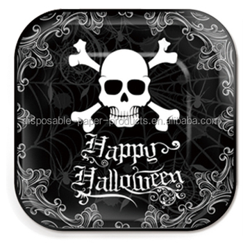 Halloween Party Supplies Tableware Black White Happy Halloween Skull Small 7inch 18cm Square Disposable Party Paper  sc 1 st  Alibaba & Halloween Party Supplies Tableware Black White Happy Halloween Skull ...