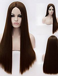 Wigs have an attractive convenience fashion European And American High-Temperature Brown Silk Long Straight Hair wig Fashion Girl Necessary