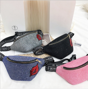 Chic fashion Red lips fanny pack/ waist bag sequins patches fanny pack waist bags 2019