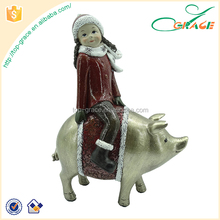 Custom resin decoration christmas figurines ornaments pig christmas
