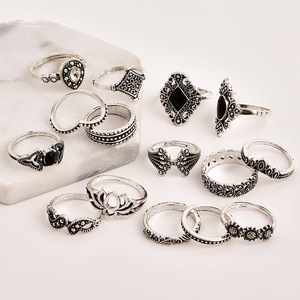 Retro Jewelry Vintage Punk Boho Beach 15PCS Rings Set For Women Antique Silver Plated Knuckle Rings JR014