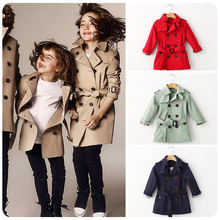 2015 UK wind double breasted casual children out coat Jacket high quality cotton girls boys classical