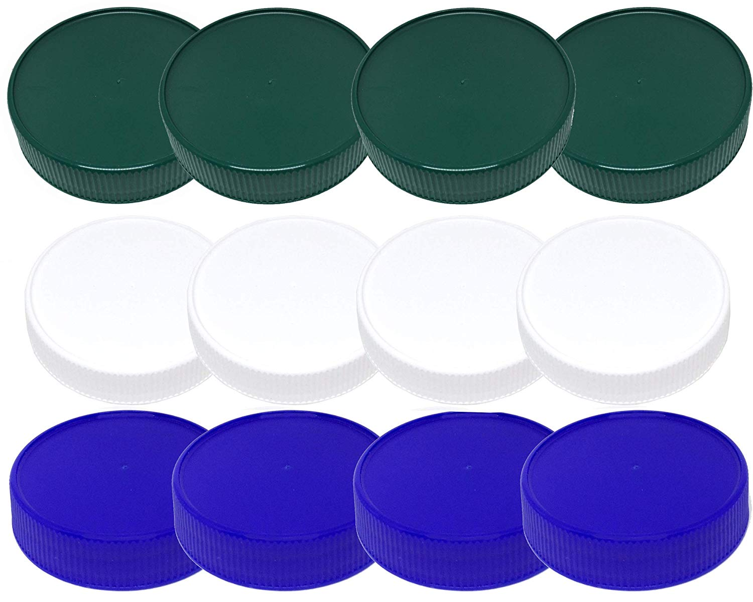 Mason Jar Storage Lids-Plastic (BPA Free) Regular Mouth Mason Jar Lids Set of 12 Reusable Leak Proof Caps are Made in the USA (white green blue)